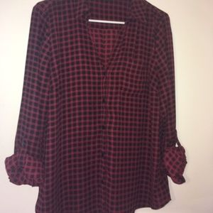 Red and Navy Plaid Ashton Blouse